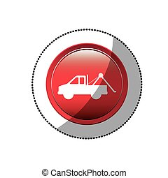 dotted sticker with tow truck icon