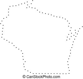 Dotted Stroke Wisconsin State Map