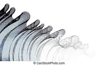 dotted, tule, style., partikels, wind., futuristisch, vector...