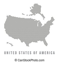 Dotted USA map on white background