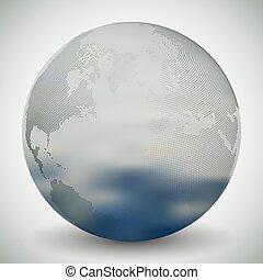 Dotted world globe, blurred design vector illustration