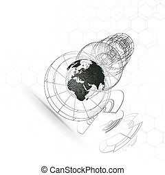 Dotted world globe, connecting lines, abstract construction, space station, orbit isolated on white. Futuristic high tech HUD background. Scientific vector design. Science, technology concept.