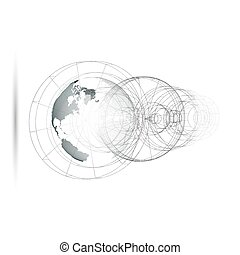 Dotted world globe, isolated abstract construction, connecting lines on white background. Vector design, structure, shape, form, orbit, space station. Scientific research. Science, technology concept.