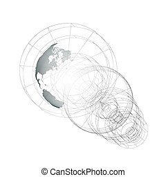 Dotted world globe, isolated abstract construction, connecting lines on white background. Vector design, structure, shape, form, orbit, space station. Science, technology concept.