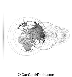 Dotted world globe with abstract construction, connecting lines on white background. Vector design, structure, shape, form, orbit, space station. Scientific research. Science, technology concept.