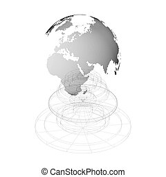 Dotted world globe with isolated construction on white background. Abstract vector design structure, shape, form, orbit or space station. Science and technology concept.