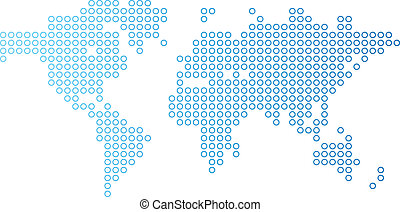 Dotted world map - Blue dotted world map. Vector...