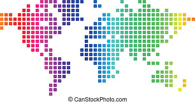 Dotted world map - Multicolored dotted world map made of...