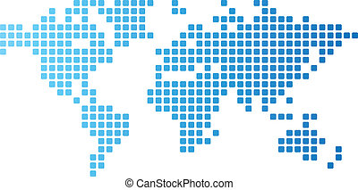 Dotted world map made of rounded rectangles. Vector...