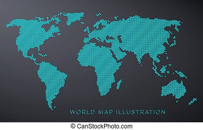 Dotted world map isolated