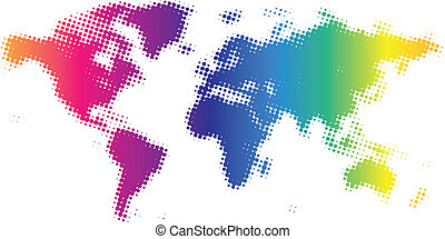Dotted world map - Multicolored dotted world map. Vector ...
