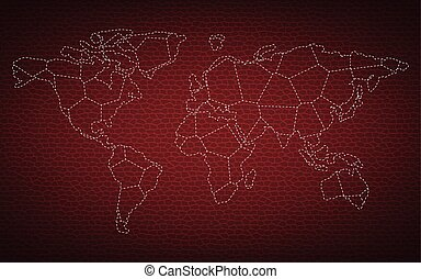 Dotted world map on leather background vector
