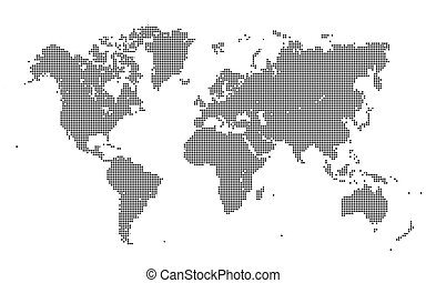 Dotted World Map on White Background