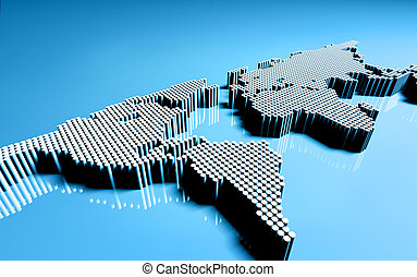 dotted world map; 3d render