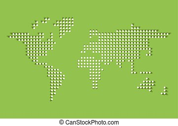 Dotted World map. White dots with dropped shadow on green background. Vector illustration