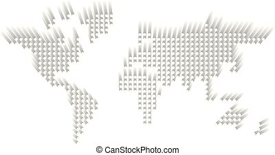 Dotted World map. White dots with dropped shadow on white background. Vector illustration