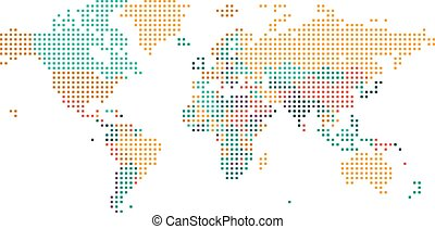Dotted World map with countries borders