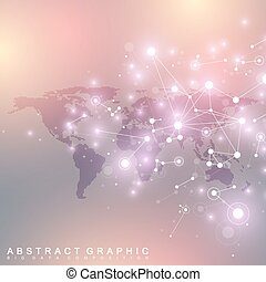 Dotted World Map with global technology networking concept. Digital data visualization. Scientific cybernetic particle compounds. Big Data background communication. Vector illustration.