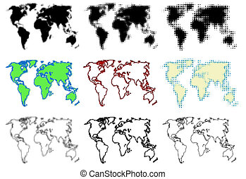 Dotted world maps