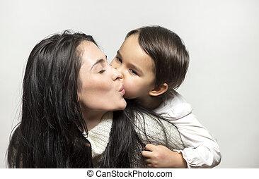dotter, mor, annat., mor, varje, kärlek, dag, firande