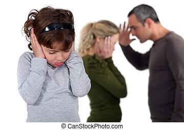 dotter, stå, med, argumentera, föräldrar