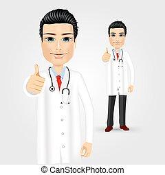 dottore, amichevole, su, pollici, dare