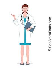 dottore, appunti, femmina