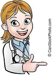 dottore, cartone animato, carattere, indicare, segno