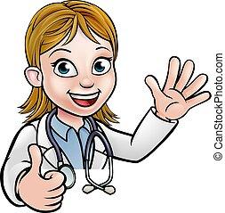 dottore, cartone animato, carattere, segno, pollici