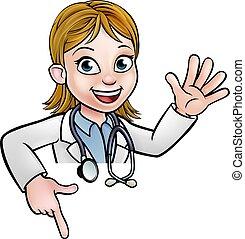 dottore, cartone animato, carattere, sopra, segno, indicare