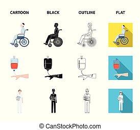 dottore., cartone animato, medicineset, stile, simbolo, trasfusione, invalido, sangue, trauma, vettore, appartamento, mani, casato, medicazione, web., contorno, icone, dottore, nero, illustrazione, collezione