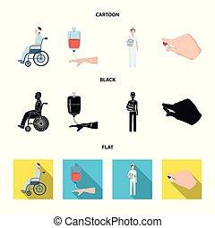 dottore., cartone animato, medicineset, stile, simbolo, trasfusione, invalido, sangue, trauma, vettore, appartamento, mani, casato, medicazione, web., icone, dottore, nero, illustrazione, collezione