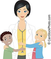 dottore, con, bambini