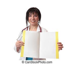 dottore, con, fatto, foglio