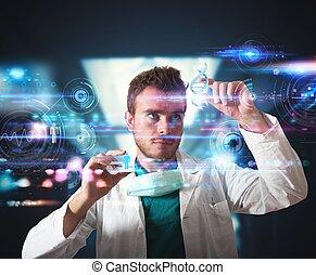 dottore, con, futuristico, touchscreen, interfaccia