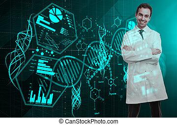 dottore, con, medico, ologramma