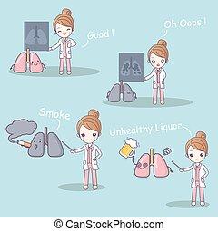 dottore, con, polmone, problema