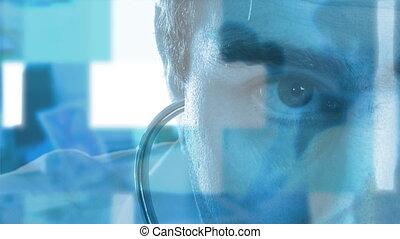 dottore, con, uno, stetoscopio