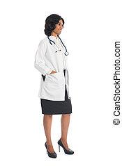 dottore, corpo, fondo, vista, femmina, indiano, pieno, lato, bianco