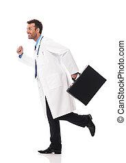 dottore, correndo, urgenza, a, paziente