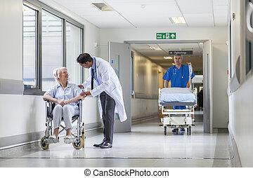 dottore, corridoio, paziente, spinta, ospedale gurney, barella, infermiera