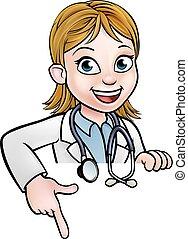 dottore donna, cartone animato, carattere, indicare