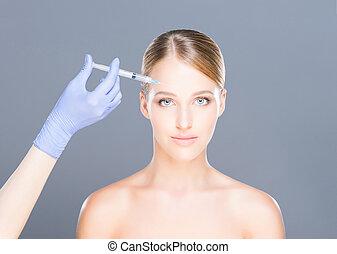 dottore donna, giovane, faccia, iniettare, botox