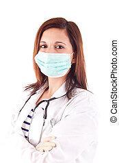 dottore donna, sopra, fondo, bianco, medico