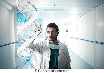 dottore, e, schermo tocco