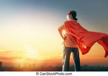 dottore, facemask, il portare, superhero, capo