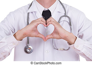 dottore, fare, uno, cuore, con, suo, mani