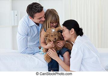 dottore femmina, bambino, paziente, gioco