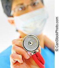 dottore femmina, con, stetoscopio