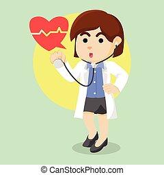 dottore femmina, tenere stethoscope